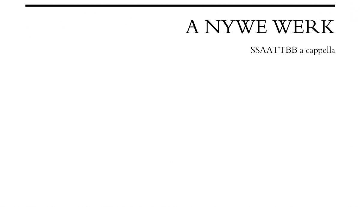 A Nywe Werk Score Cover